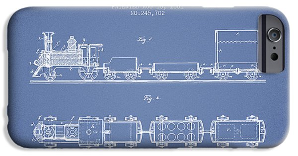 Transportation Drawings iPhone Cases - 1881 Toy Locomotive Patent - Light Blue iPhone Case by Aged Pixel