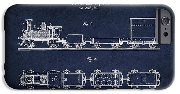 Transportation Drawings iPhone Cases - 1881 Toy Locomotive Patent - Navy Blue iPhone Case by Aged Pixel