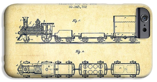 Transportation Drawings iPhone Cases - 1881 Toy Locomotive Patent - vintage iPhone Case by Aged Pixel