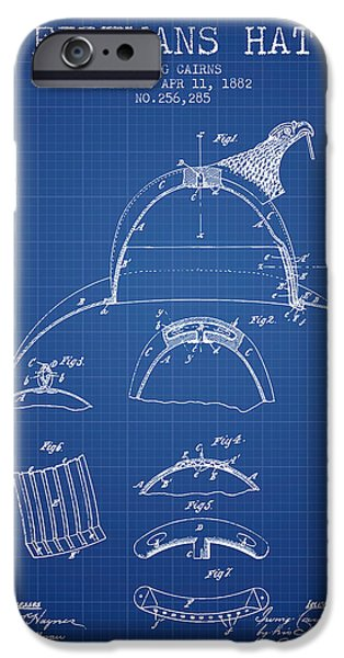 Gear iPhone Cases - 1882 Firemans Hat Patent - blueprint iPhone Case by Aged Pixel