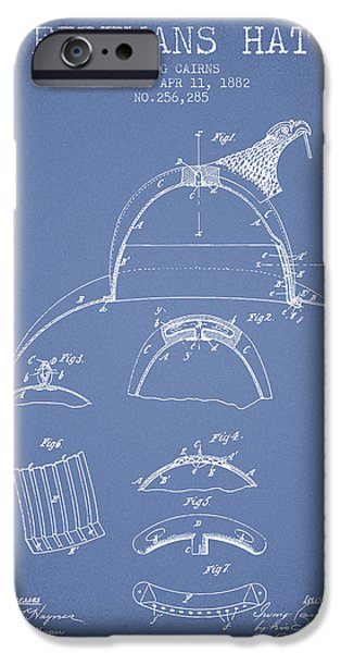 Gear iPhone Cases - 1882 Firemans Hat Patent - light blue iPhone Case by Aged Pixel