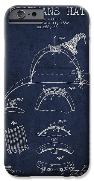 Gear iPhone Cases - 1882 Firemans Hat Patent - Navy Blue iPhone Case by Aged Pixel