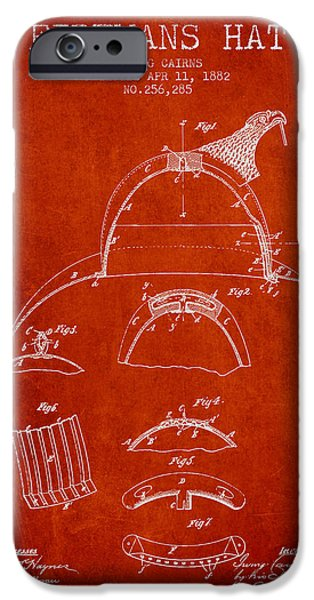 Gear iPhone Cases - 1882 Firemans Hat Patent - Red iPhone Case by Aged Pixel