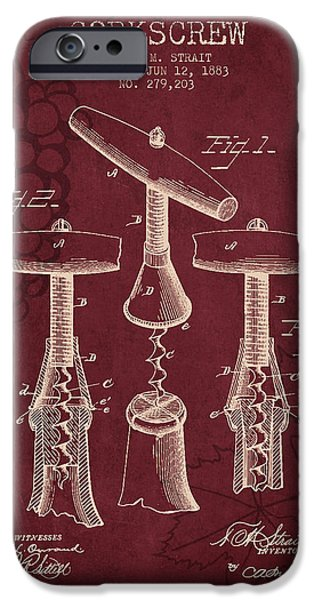 Wine Bottles iPhone Cases - 1883 Corkscrew patent - Red Wine iPhone Case by Aged Pixel