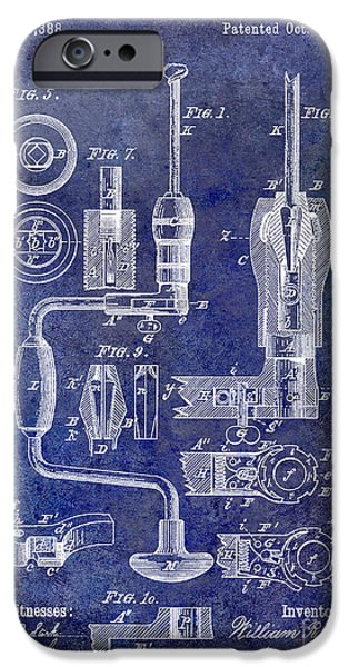 Hand Tool iPhone Cases - 1883 Drill Patent Blue iPhone Case by Jon Neidert