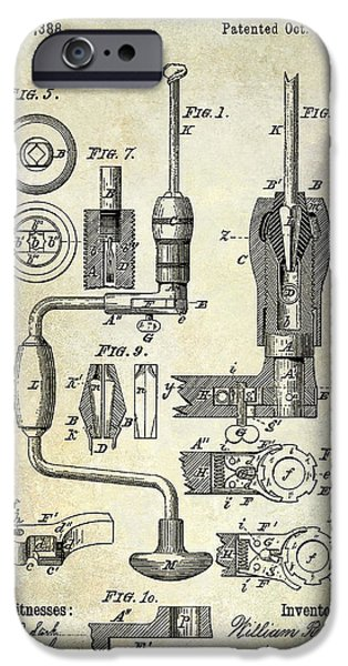 Hand Tool iPhone Cases - 1883 Drill Patent iPhone Case by Jon Neidert
