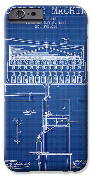 Wine Bottle iPhone Cases - 1884 Bottling Machine patent - blueprint iPhone Case by Aged Pixel