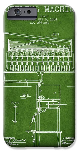 Wine Bottle iPhone Cases - 1884 Bottling Machine patent - green iPhone Case by Aged Pixel