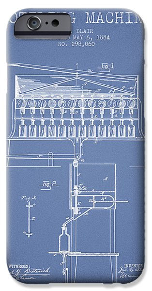 Wine Bottle iPhone Cases - 1884 Bottling Machine patent - light blue iPhone Case by Aged Pixel