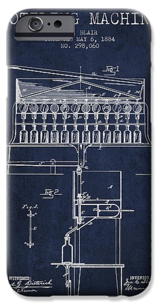 Wine Bottle iPhone Cases - 1884 Bottling Machine patent - navy blue iPhone Case by Aged Pixel