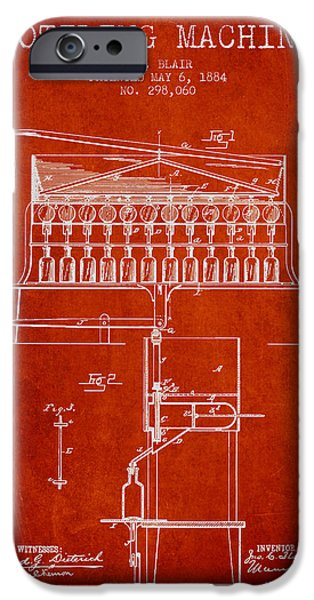 Wine Bottle iPhone Cases - 1884 Bottling Machine patent - red iPhone Case by Aged Pixel