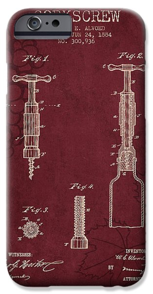 Wine Bottles iPhone Cases - 1884 Corkscrew patent - red wine iPhone Case by Aged Pixel