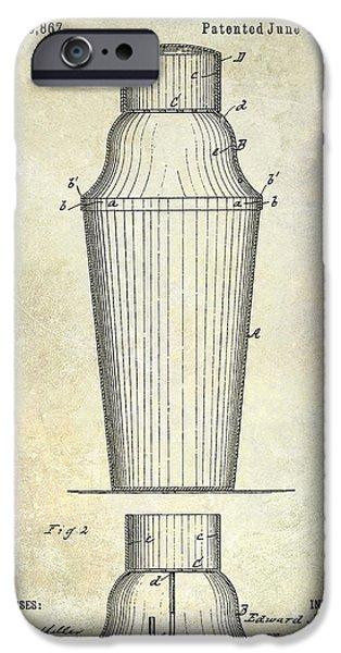 Stir iPhone Cases - 1884 Drink Shaker Patent iPhone Case by Jon Neidert