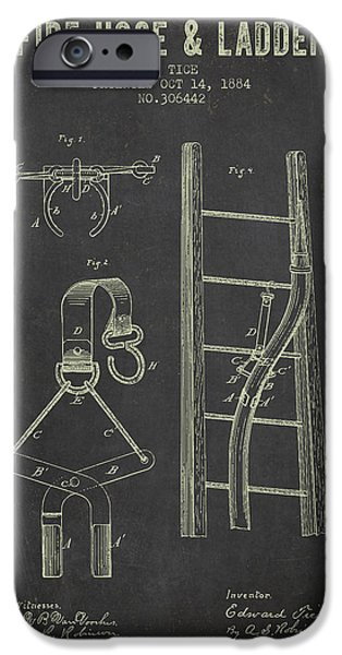 Gear iPhone Cases - 1884 Fire Hose And Ladder Patent- Dark Grunge iPhone Case by Aged Pixel