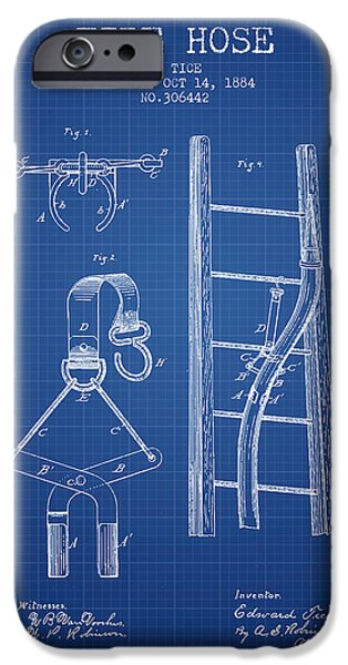 Gear iPhone Cases - 1884 Fire Hose Patent - blueprint iPhone Case by Aged Pixel