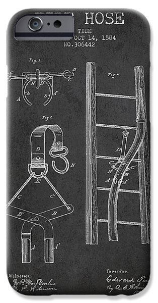 Gear iPhone Cases - 1884 Fire Hose Patent - charcoal iPhone Case by Aged Pixel