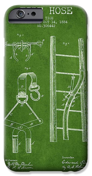 Gear iPhone Cases - 1884 Fire Hose Patent - green iPhone Case by Aged Pixel