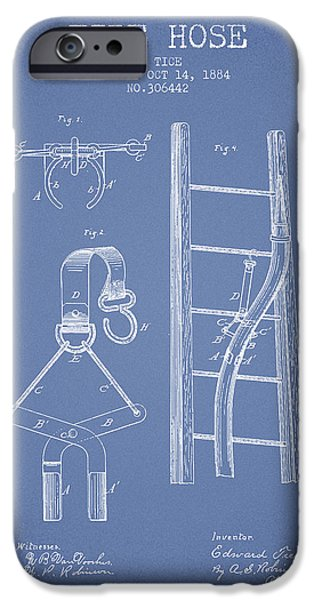Gear iPhone Cases - 1884 Fire Hose Patent - light blue iPhone Case by Aged Pixel