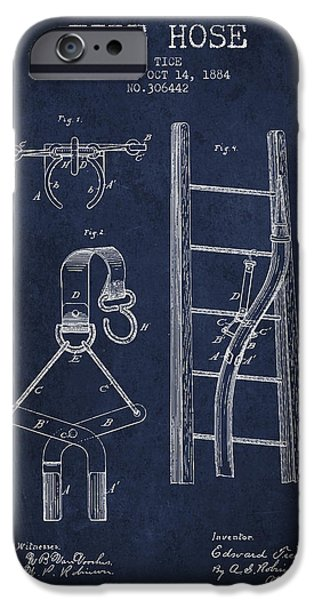 Gear iPhone Cases - 1884 Fire Hose Patent - navy blue iPhone Case by Aged Pixel