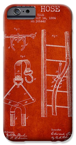 Gear iPhone Cases - 1884 Fire Hose Patent - red iPhone Case by Aged Pixel