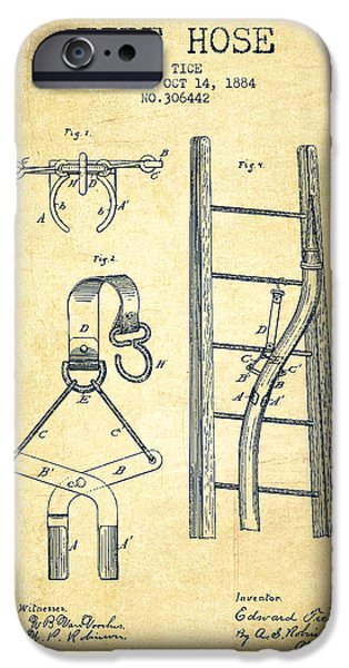 Gear iPhone Cases - 1884 Fire Hose Patent - vintage iPhone Case by Aged Pixel