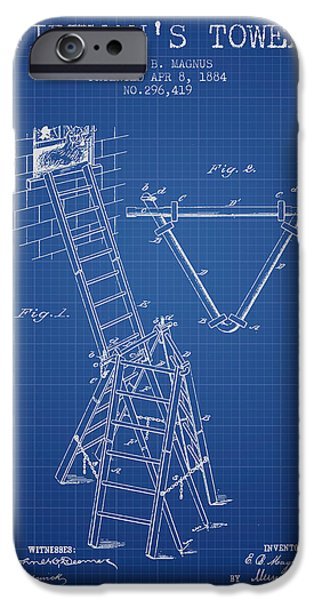 Gear iPhone Cases - 1884 Firemans Tower Patent - Blueprint iPhone Case by Aged Pixel
