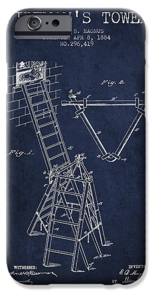 Gear iPhone Cases - 1884 Firemans Tower Patent - Navy Blue iPhone Case by Aged Pixel