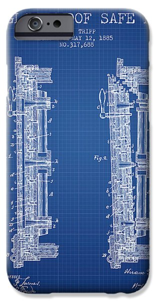 Banks iPhone Cases - 1885 Bank Safe Door Patent - blueprint iPhone Case by Aged Pixel