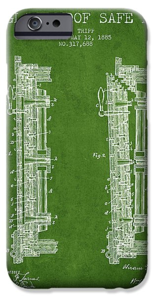 Banks iPhone Cases - 1885 Bank Safe Door Patent - green iPhone Case by Aged Pixel