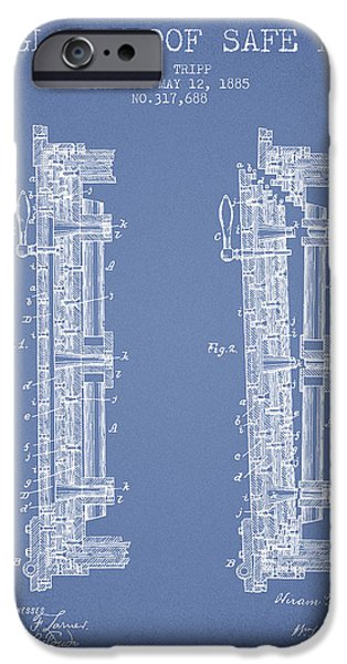 Banks iPhone Cases - 1885 Bank Safe Door Patent - light blue iPhone Case by Aged Pixel