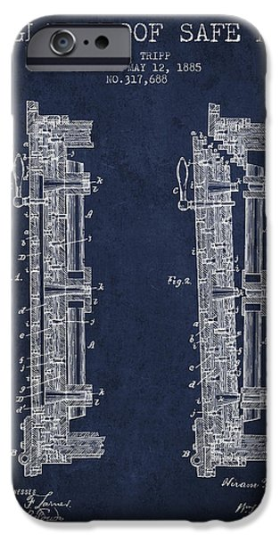 Banks iPhone Cases - 1885 Bank Safe Door Patent - navy blue iPhone Case by Aged Pixel