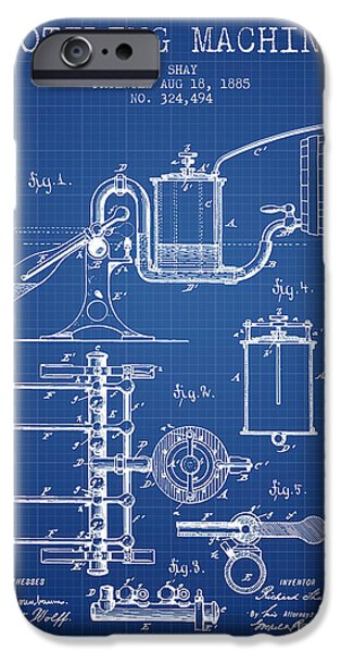 Wine Bottles iPhone Cases - 1885 Bottling Machine patent - Blueprint iPhone Case by Aged Pixel
