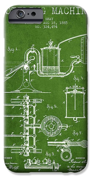 Wine Bottles iPhone Cases - 1885 Bottling Machine patent - Green iPhone Case by Aged Pixel