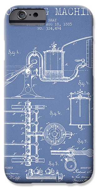 Wine Bottles iPhone Cases - 1885 Bottling Machine patent - Light Blue iPhone Case by Aged Pixel