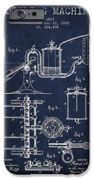 Wine Bottles iPhone Cases - 1885 Bottling Machine patent - Navy Blue iPhone Case by Aged Pixel