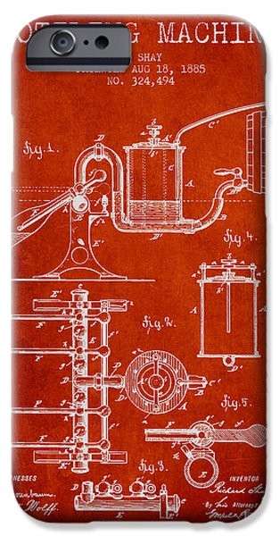 Wine Bottles iPhone Cases - 1885 Bottling Machine patent - red iPhone Case by Aged Pixel
