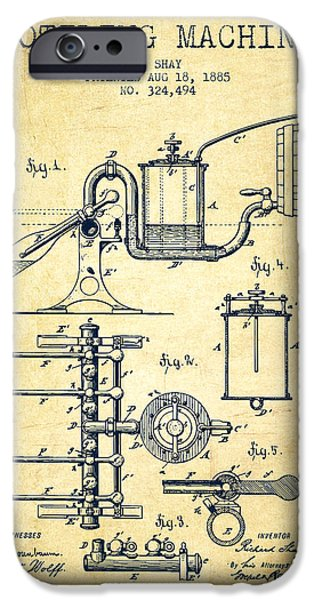 Wall Drawings iPhone Cases - 1885 Bottling Machine patent - Vintage iPhone Case by Aged Pixel