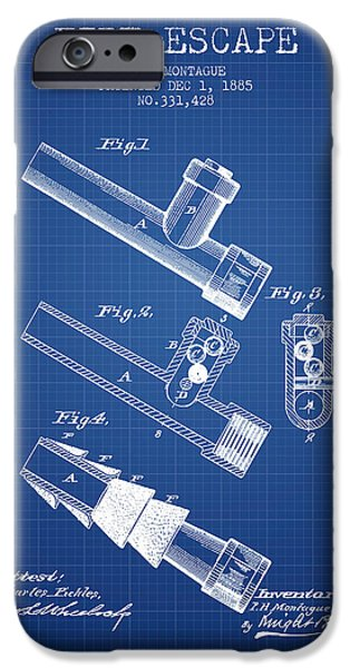 Gear iPhone Cases - 1885 Fire Escape Patent - Blueprint iPhone Case by Aged Pixel