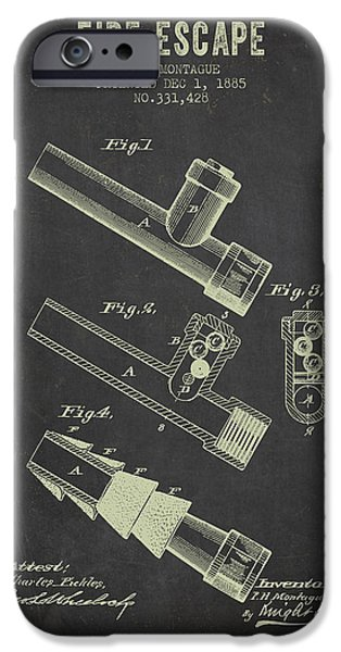 Gear iPhone Cases - 1885 Fire Escape Patent- Dark Grunge iPhone Case by Aged Pixel