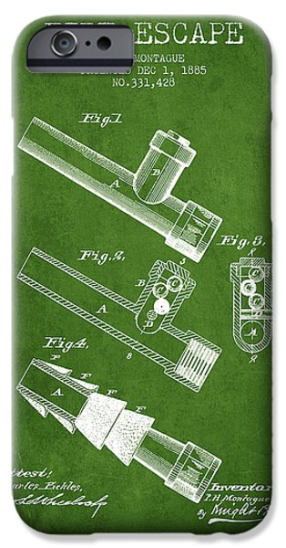 Gear iPhone Cases - 1885 Fire Escape Patent - Green iPhone Case by Aged Pixel