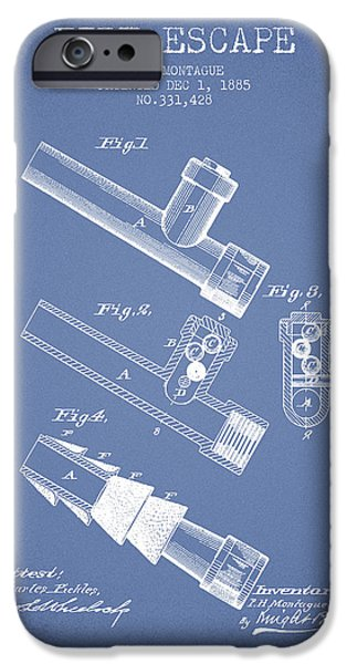Gear iPhone Cases - 1885 Fire Escape Patent - Light Blue iPhone Case by Aged Pixel