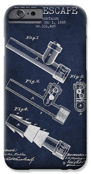 Gear iPhone Cases - 1885 Fire Escape Patent - Navy Blue iPhone Case by Aged Pixel
