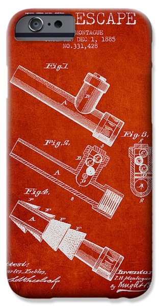 Gear iPhone Cases - 1885 Fire Escape Patent - Red iPhone Case by Aged Pixel