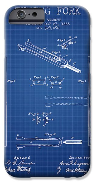 Celebrities Drawings iPhone Cases - 1885 Tuning Fork Patent - Blueprint iPhone Case by Aged Pixel