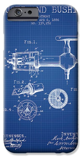 Tap iPhone Cases - 1886 Faucet and bushing Patent - Blueprint iPhone Case by Aged Pixel
