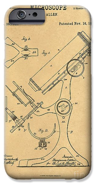 Historic Home Drawings iPhone Cases - 1886 Microscope Patent Art B.F. Allen 3 iPhone Case by Nishanth Gopinathan