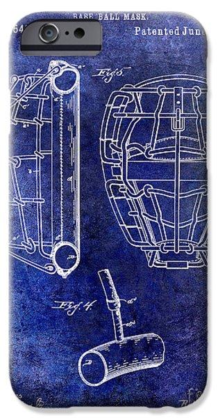 Baseball Photographs iPhone Cases - 1887 Baseball Mask Patent blue iPhone Case by Jon Neidert
