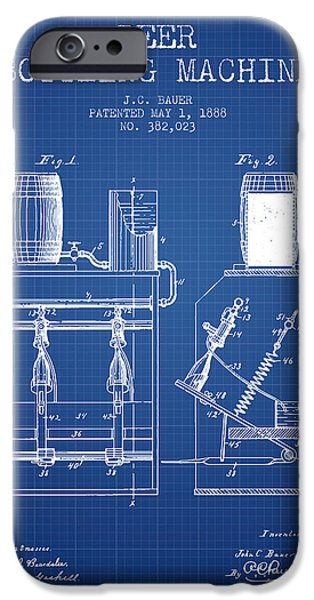 Wine Bottles iPhone Cases - 1888 Beer Bottling Machine patent - Blueprint iPhone Case by Aged Pixel