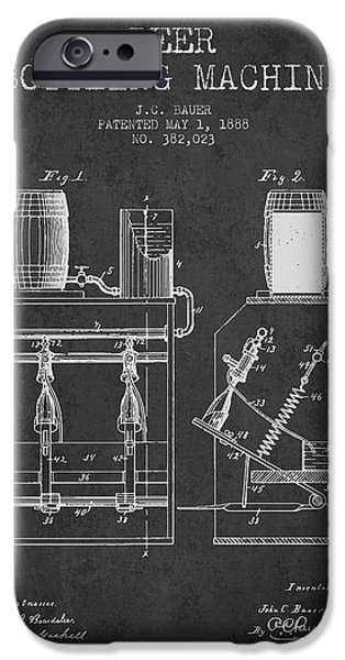Wine Bottle iPhone Cases - 1888 Beer Bottling Machine patent - Charcoal iPhone Case by Aged Pixel