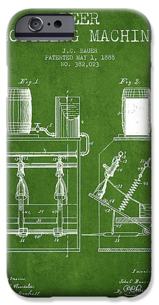 Wine Bottle iPhone Cases - 1888 Beer Bottling Machine patent - Green iPhone Case by Aged Pixel